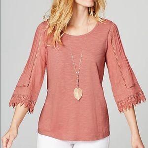 J.jill Pintucked Lace-Sleeve Top Med Petite